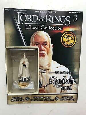 Lord Of The Rings Chess Collection 3 Gandalf Eaglemoss Figure White Bishop + Mag • 13.99£