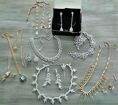 $52 • Buy 18 PC Vintage Lot Sarah Coventry Ring Necklaces Earrings Pin Bracelet AB Crystal