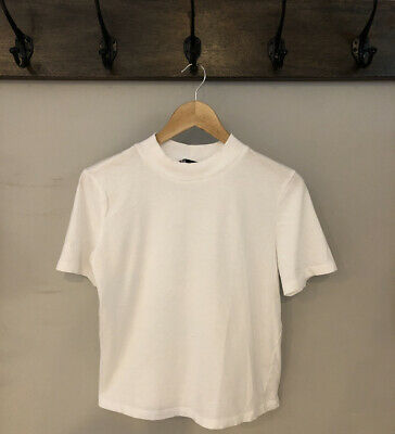 $20 • Buy Zara White Cotton Top With High Neck Size Large