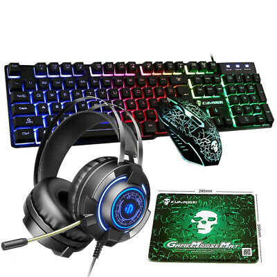 AU71.34 • Buy Gaming Keyboard Mechanical Feel Keyboard And Wired Mouse Headset Four-piece Set