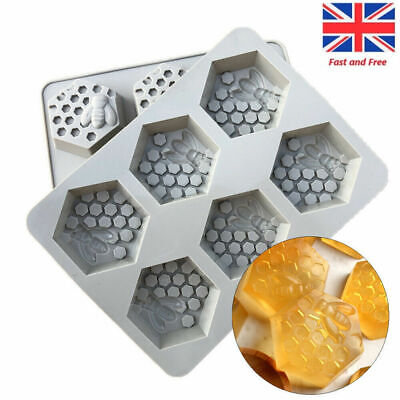 6Grid 3D Bee Honey Silicone Baking Resin Mould Wax Beeswax Candle Cake Mold Tray • 5.57£