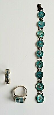 $ CDN102.06 • Buy Sterling Silver Bracelet And Rings Turquoise Lot (3)