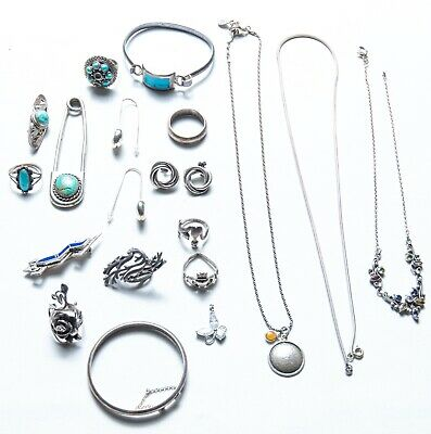 $ CDN197.31 • Buy SCRAP STERLING Silver LOT Misc. 925 Silver 146 Grams Stamped Rings Turquoise