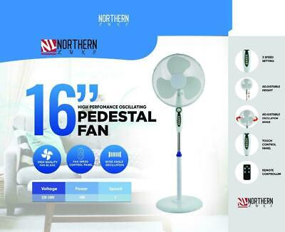 16  White Free Stand Fan With Remote Control High Velocity Pedestal Cooling Fan • 28.50£