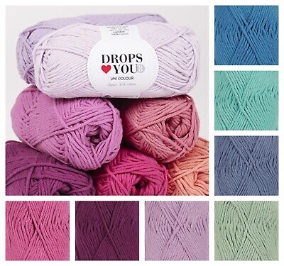£1.60 • Buy Drops Love You 8 *PACK OF TWO* 100% Cotton Aran Knitting Yarn In 14 Colours