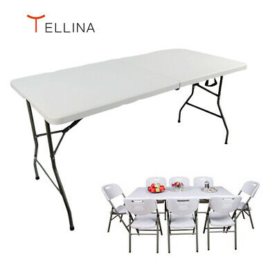 Folding Table 1.5M 5FT Heavy Duty Portable Trestle Camping Garden Party Tellina  • 33.99£