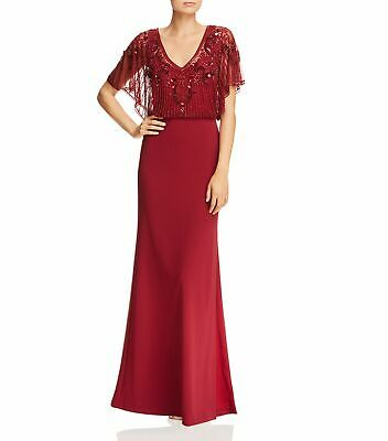 $6.99 • Buy Aidan Mattox Women Gown Wine Red Size 6 Embellished V-Neck Back Keyhole $440 040
