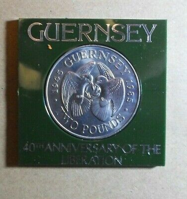 GUERNSEY 1985 £2  CROWN COIN 40th Anniversary Of Liberation ( Post Office Case) • 3.19£