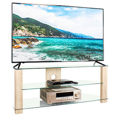 TV Unit Cabinet Clear Stand 120cm Corner Entertainment Tempered Glass • 85.99£