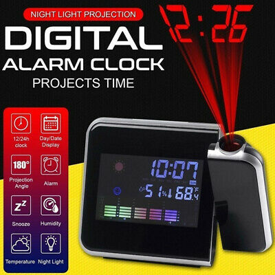 AU20.59 • Buy Digital Projection Alarm Clock LED Time Temperature Humidity Projector Snooze AU