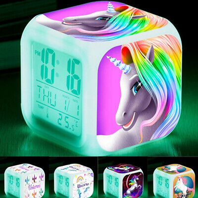 AU18.99 • Buy Digital Alarm Clock Wake-up Light LED Night Light For Kids Girls Christmas Gifts