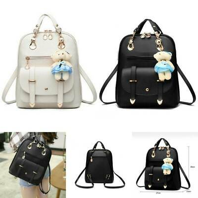$13.49 • Buy  Mini New Backpack With Bear Pendant PU Leather School Bags For Teenage Girls