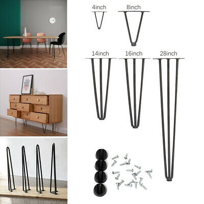 4x Hairpin Legs Industrial Iron Furniture Feet Cabinet Table Chair Hair Pin Legs • 15.95£