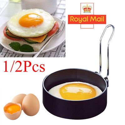 2/4Pcs Metal Egg Frying Rings Circle Round Fried/Poach Mould+Handle Non Stick UK • 3.56£