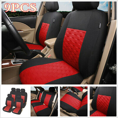 $ CDN53.46 • Buy 9pcs Auto Seat Covers Polyester Red Universal For Standard Car Front + Rear Seat