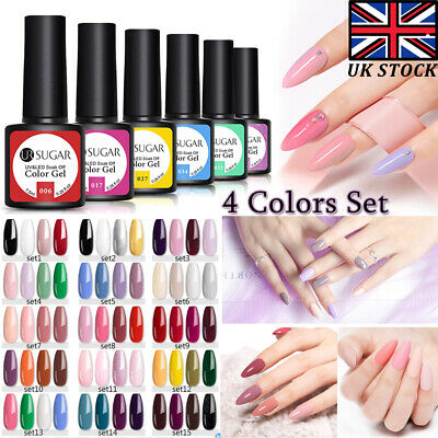 4Pcs/set UR SUGAR 7.5ml Gel Polish Soak Off UV LED Gel Varnish Colorful Nail Art • 4.99£