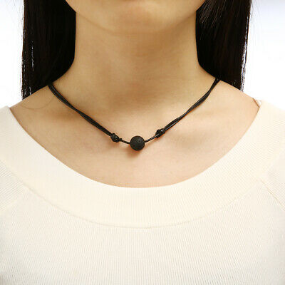 AU2.05 • Buy Black Lava Stone Rock Beads Essential Oil Diffuser Leather Necklace Adjustable
