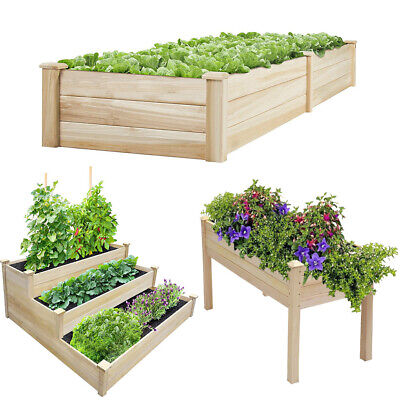 Outdoor Raised Bed Planter Garden Wooden Trough Vegetable Herbs Flower Grow Box • 45.95£