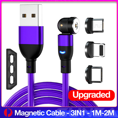 AU12.30 • Buy Magnetic Lightning Cable Right Angle Micro USB/Type C Charging Cord 1M 2M 3IN1