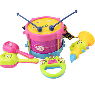 Musical Instruments Children's Toy Drum Trumpet Tambourine Learning Toy SM • 5.93£