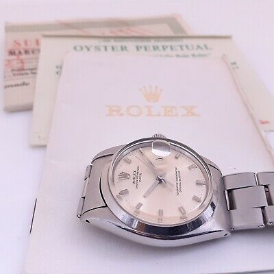 $ CDN5692.53 • Buy Vintage Rolex Date 34 Mm Steel Automatic Oyster Watch 1500 With Papers 1969
