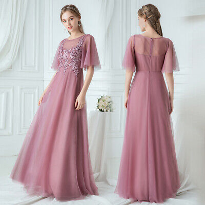 Ever-Pretty Long Bridesmaid Dresses Mesh Cocktail Wedding Party Dress Prom Gown • 29.99£