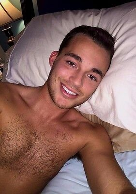 $ CDN4.40 • Buy Shirtless Cute Male Hairy Chest Handsome Face Laying Down Dude PHOTO 4X6 C1274