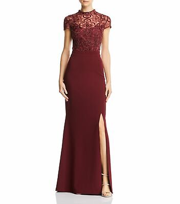 $33.99 • Buy Aidan Mattox Womens Dress Wine Red Size 2 Gown Mock Neck Embroidered $375 069
