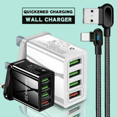 USB Plug Fast Charge Wall Charger Multi Quick Charging 3.0 UK 4-Port Adapters • 5.99£