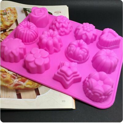 12 Cavities Flowers Shape Silicone Soap Mold Ice Lattice Cake Candy DIY Mould • 5.28£