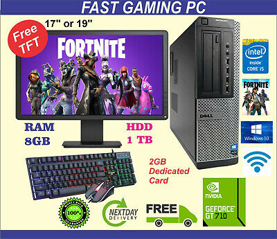 FAST DELL Gaming PC Quad Core I5 Computer SET Monitor 8GB 1TB 2GB GT710 Win 10 • 179.99£