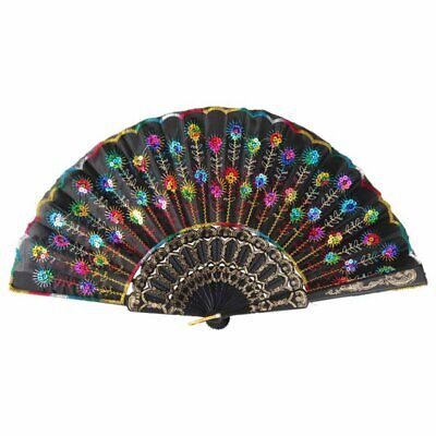 Cloth Folding Fan Peacock Feather Pattern Hand Hold Fan Dancing Party  Decor • 4.80£
