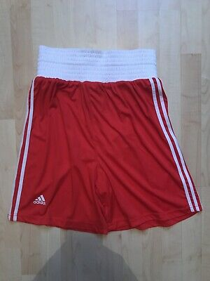 Adidas Boxing Shorts Climalite White Red Pro Mens Sparring Size M • 10.99£