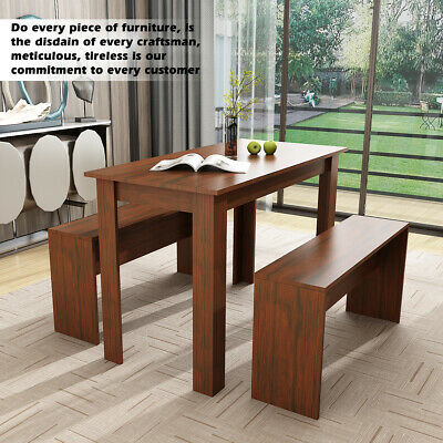 Dining Table And 2 Bench Chair Set Modern Dining Room Kitchen Wooden Furniture  • 85.99£