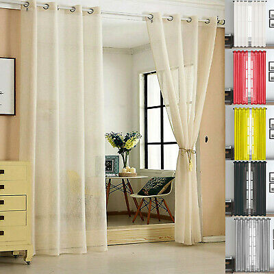 48  Voile Curtain Plain Tab Top Panel With Eyelet Ring Top Heading Washable • 3.99£