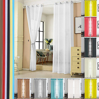 New Voile Curtain PAIR Plain Tab Top Panel With Eyelet Ring Top Heading Washable • 10.66£