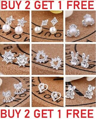 925 Sterling Silver Stud Earrings Sparkly Stones Fashion Studs Womens Girls • 1.99£