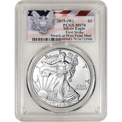 $32 • Buy 2019-(W) American Silver Eagle - PCGS MS70 - First Strike Red Flag Label