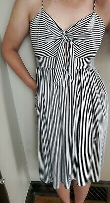 $20.50 • Buy Zara Basic Cotton Black And White Striped Knee Length Summer Dress Size Eur L