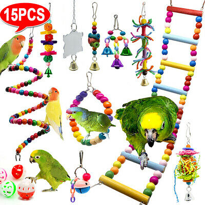 £11.99 • Buy 15X Parrot Toys Metal Rope Small Ladder Stand Budgie Cockatiel Cage Bird Toy Set