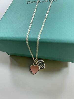 $48 • Buy Auth Tiffany & Co Return To Mini Double Heart Pendant Necklace Enamel Pink 18