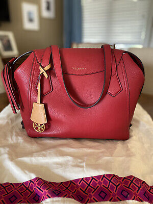 $89 • Buy NWOT TORY BURCH PERRY Satchel Handbag In RED APPLE Pebbled Leather Gold Tone