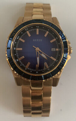 AU145 • Buy Guess Ladies Watch Rose Gold With Navy Face, Excellent Condition