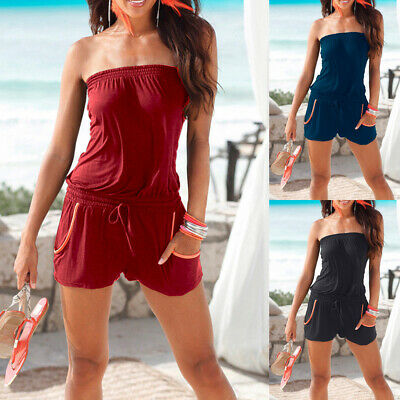 Womens Ladies Playsuit Jumpsuit Strapless Shorts Bandeau Elasticated Summer New • 9.19£
