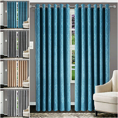 Blackout Eyelet Curtains Ready Made Ring Top Living Room Bedroom Window Curtain • 18.99£