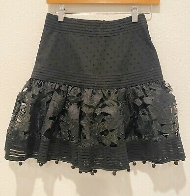 $30 • Buy Lace Fit And Flare Mini Black Skirt New With Out Tag Size S (Zimmermann Style)