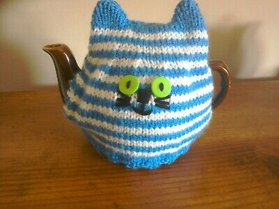 Hand Knitted Tea Cosy For A Small Teapot -  Blue Cornishware Style Cat • 4.99£