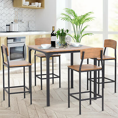 $209.99 • Buy HOMCOM 5 Piece Modern Small Kitchen Table And Chairs Dining Furniture Set,Walnut