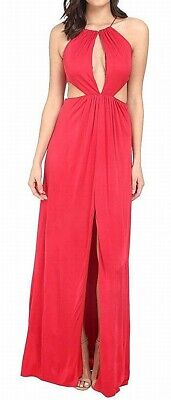 $27.99 • Buy Aidan Mattox Women's Gown Ruby Red Size 12 Halter Cutout Front-Slit $295 041