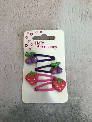 $ CDN4.66 • Buy 4 Purple & Pink Cherry Strawberry Hair Slides Hair Accessories UK Kids Girls